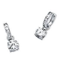 4.40 TCW Cubic Zirconia Huggie Hoop Earrings in Platinum over Sterling Silver