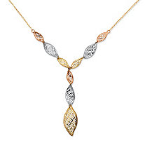 Leaf Y Necklace in Tri-Tone 10k Gold 18""