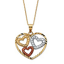 Triple Heart Pendant Necklace in Tri-Tone 10k Gold 18