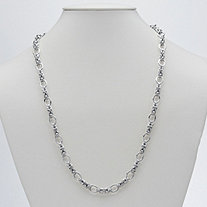 Byzantine and Oval Link Necklace in Sterling Silver 24""