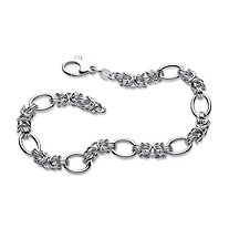 Byzantine and Oval Link Bracelet in Sterling Silver 8""