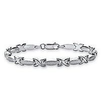 X and O Link Bracelet in Sterling Silver 7 1/2