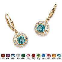 Birthstone Halo Drop Earrings in 18k Gold over Sterling Silver