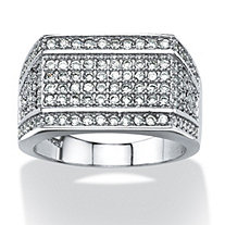 Men's 1.65 TCW Cubic Zirconia Geometric Row Ring in Platinum over Sterling Silver