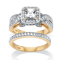 1.78 TCW Princess Cut and Round Cubic Zirconia 2 Piece Ring Set in 18k Gold over Sterling Silver