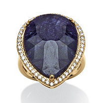 18.63 TCW Pear Cut Midnight Blue Sapphire and Cubic Zirconia Ring in 18k Gold over Sterling Silver