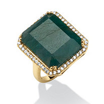 18.88 TCW Emerald-Cut Green Sapphire and Cubic Zirconia Ring in 18k Gold over Sterling Silver