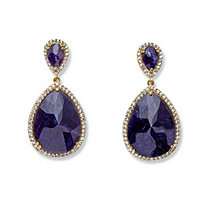 41.18 TCW Pear-Cut Midnight Sapphire and Cubic Zirconia Earrings in 18k Gold over Sterling Silver