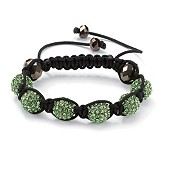 Round Green Crystal Glass Accent Black Macrame Rope Multi-Crystal Ball Tranquility Bracelet 8""