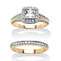 2 Piece 1.28 TCW Princess-Cut Cubic Zirconia and Blue Crystal Bridal Ring Set in 18k Gold Plated