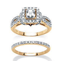 1.28 TCW Princess-Cut Cubic Zirconia 2 Piece Bridal Set in 18k Gold over Sterling Silver
