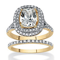 2 Piece Cushion-Cut Cubic Zirconia Bridal Ring Set 18k Gold-Plated