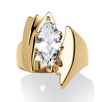 2.48 TCW Marquise-Cut Cubic Zirconia Angled Ring Gold Ion Plated