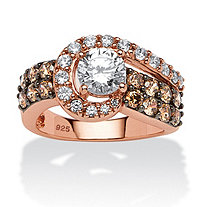 2.53 TCW Round CZ and Chocolate CZ Ring in Rose Gold over Sterling Silver