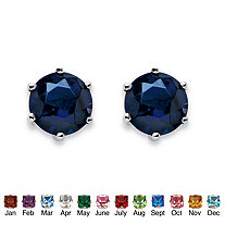 Birthstone Stud Earrings in Sterling Silver