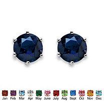 Birthstone Stud Earrings in Sterling Silver