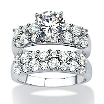 3.86 TCW Round Cubic Zirconia 2 Piece Bridal Ring Set in Platinum over Sterling Silver