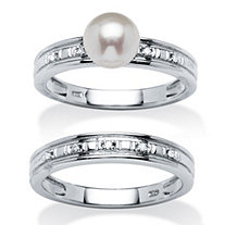 Freshwater Pearl and Diamond Accent 2 Piece Bridal Ring Set in Platinum over Sterling Silver