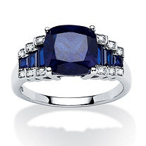 3.19 TCW Sapphire with Diamond Accents Step Ring in Platinum over Sterling Silver