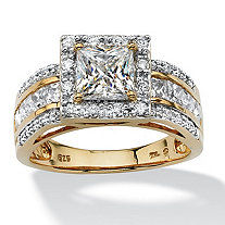 2.20 TCW Princess-Cut Cubic Zirconia Square Halo Ring in 18k Gold over Sterling Silver