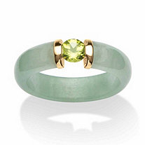.50 TCW Round Peridot and Jade Ring in 10k Gold
