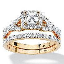 2 Piece .97 TCW Princess-Cut Cubic Zirconia Bridal Ring Set in 18k Gold over Sterling Silver