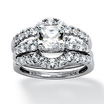3 Piece 2.61 TCW Cushion-Cut Cubic Zirconia Bridal Ring Set in Platinum over Sterling Silver