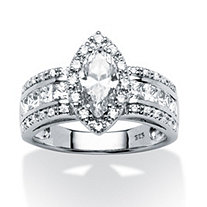 2.02 TCW Marquise-Cut Cubic Zirconia Ring in Platinum over Sterling Silver