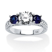 1.82 TCW Cubic Zirconia and Sapphire Ring in Sterling Silver