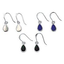 3 Pair Pear-Shaped Mother of Pearl, Onyx and Lapis Drop Earrings Set in Sterling Silver