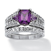 2 Piece 3.91 TCW Emerald-Cut Purple Cubic Zirconia Bridal Ring Set in Sterling Silver