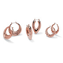 Set of 3 Pairs of Hoop Earrings in Rose Gold-Plated