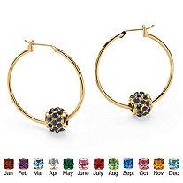 Birthstone Bead Hoop Earrings in Yellow Gold Tone