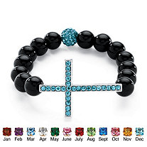 Birthstone Onyx Horizontal Cross Beaded Bracelet in Silvertone