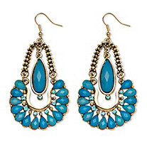 Aqua Crystal Chandelier Earrings in Yellow Gold Tone