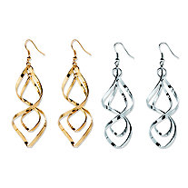 2 Pair Free-Form Twist Earrings Set in Silvertone and Yellow Gold Tone