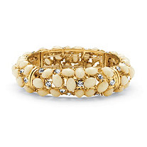 Ecru Cabochon and Crystal Bracelet in Yellow Gold Tone