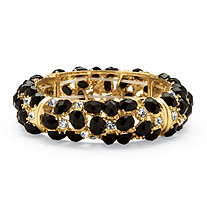 Black Cabochon and Crystal Bracelet in Yellow Gold Tone