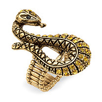 Crystal Serpent Stretch Ring in Antiqued Yellow Gold Tone