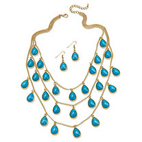 2 Piece Aqua Teardrop Checkerboard-Cut Cabochon Jewelry Set in Yellow Gold Tone