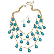2 Piece Aqua Teardrop Checkerboard-Cut Cabochon Jewelry Set in Yellow Gold Tone