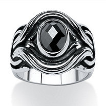 Men's 1.86 TCW Black Oval-Cut Cubic Zirconia Twisted Ring in Antiqued Stainless Steel