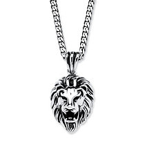 Lion Pendant and Chain in Antiqued Stainless Steel 24
