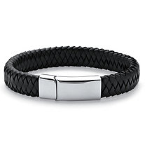 Men's Braided Leather Bracelet in Stainless Steel