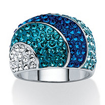 Teal, Blue and Aqua Crystal Dome Ring Made With SWAROVSKI ELEMENTS