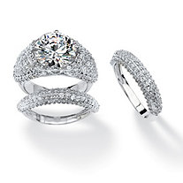 3 Piece 9.22 TCW Pave Cubic Zirconia Big Bridal Ring Set in Platinum Plated