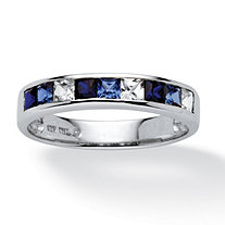 .68 TCW Princess-Cut Blue and White Sapphire Ring in Platinum over Sterling Silver