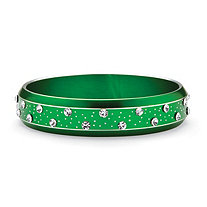 Crystal Bangle Bracelet in Green Ion Plated Stainless Steel