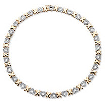 Diamond Accent Hearts and Kisses Necklace in 18k Gold-Plated 17