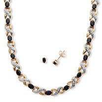 2 Piece 16.21 TCW Oval-Cut Midnight Sapphire and Diamond Accented Set in 18k Gold-Plated
